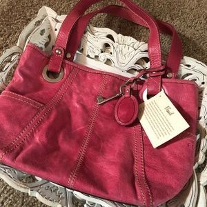 Pink Fossil Leather Handbag Purse 💥NEW💥